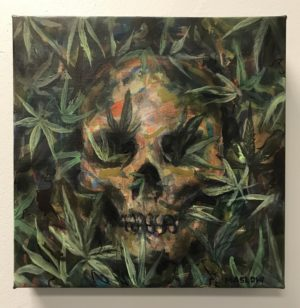 "Ganja Death. 12""x12"" Hand Embellished Giclee on Gallery Wrap Canvas. Signed and numbered. Edition of 25"